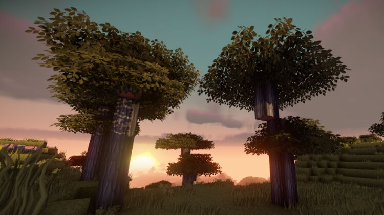 Better Leaves Addon for PureBDcraft adds new 3D models and special textures