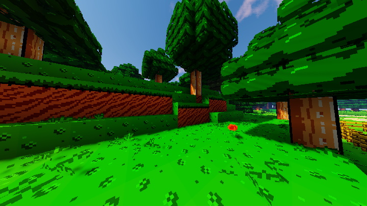 Trees in Minecraft with Nintendo graphic