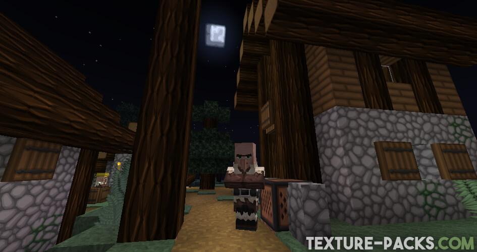 Minecraft Night in Village Screenshot with VanillaBDcraft