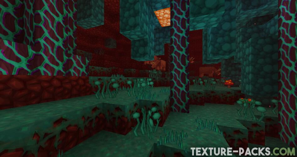 Nether Screenshot in Warped Forest