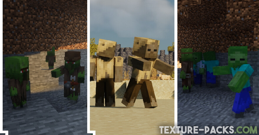 Realistic Zombies in Minecraft with Fresh Animations texture pack