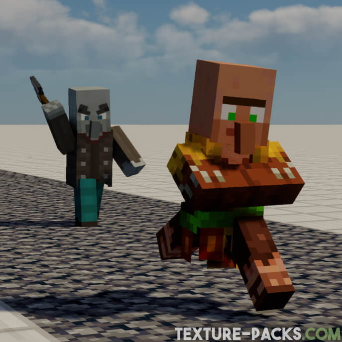 Villagers with new animation in Minecraft