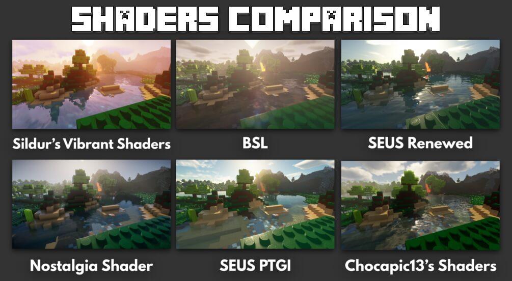 Shaders comparison with MineBricks