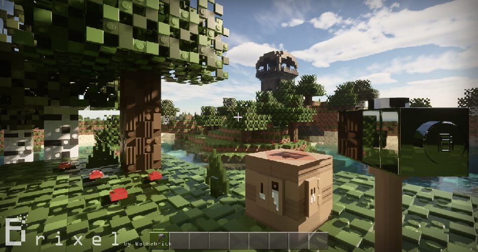 LEGO blocks in Minecraft with the Brixel texture pack